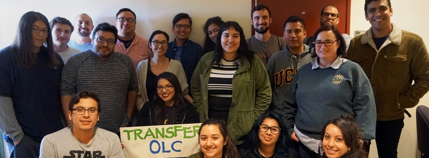 Group of UC San Diego CASP students holding a banner that reads TRANSFER OLC